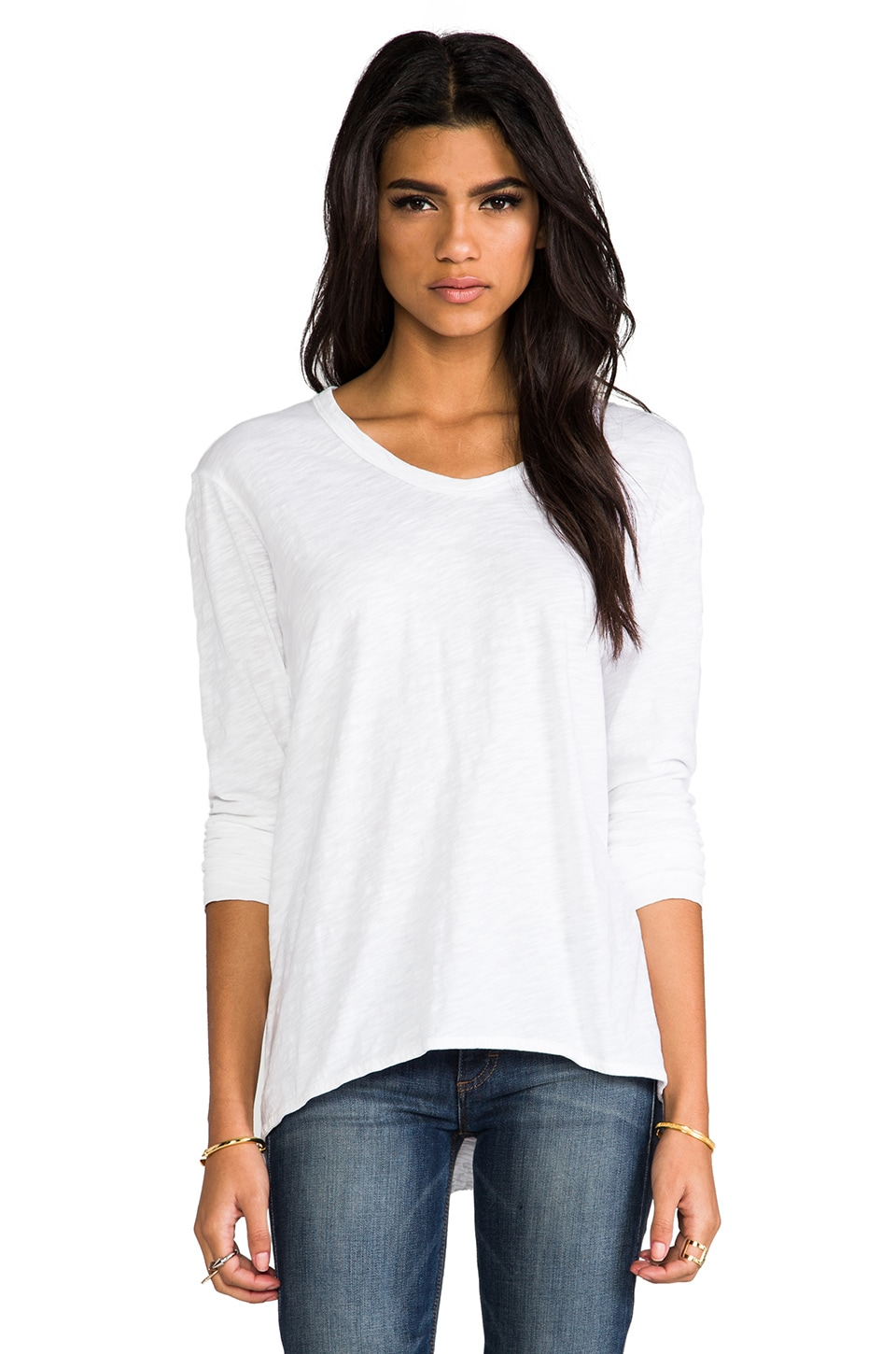 Wilt Slub Jersey Slouch BF Long Sleeve in White
