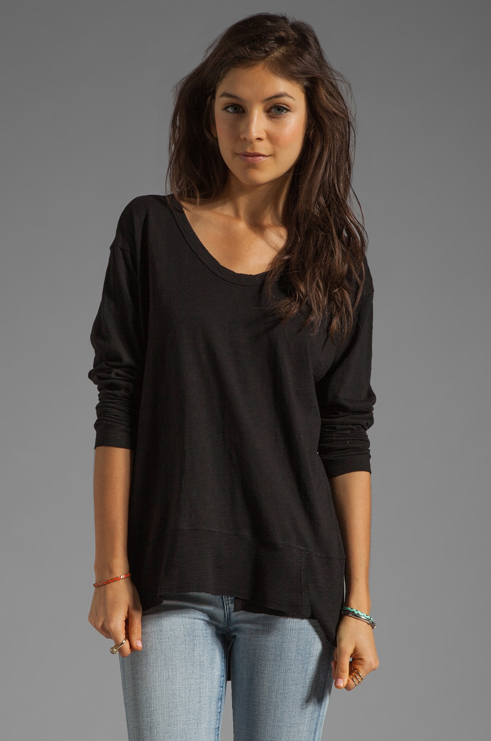 Wilt Slub Jersey Mixed Slouchy Long Sleeve in Standard Black