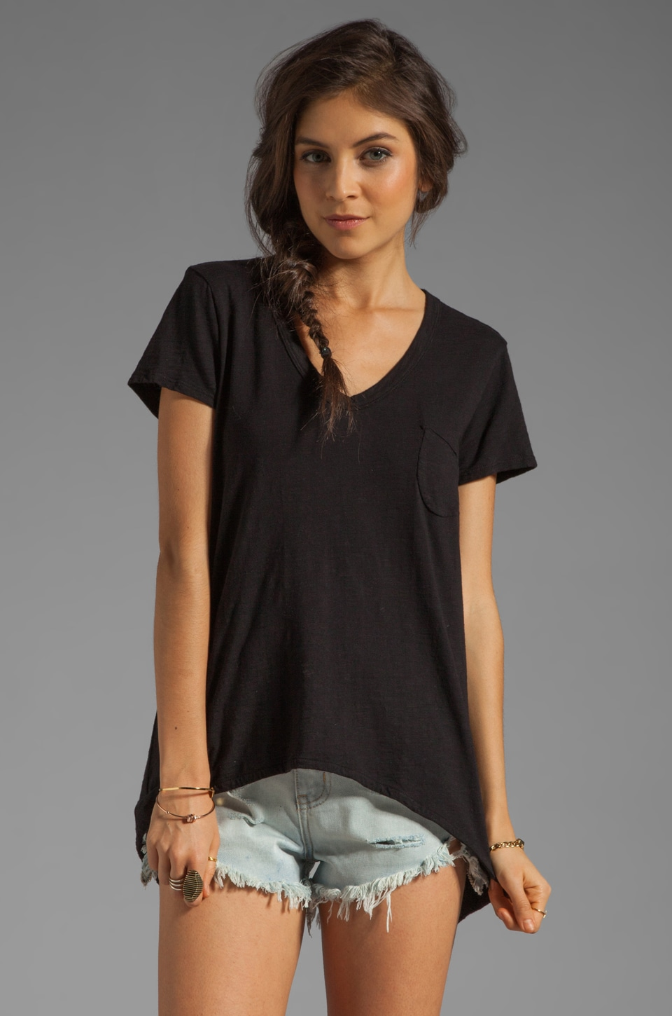Wilt Slub Shrunken Pocket Tee in Black