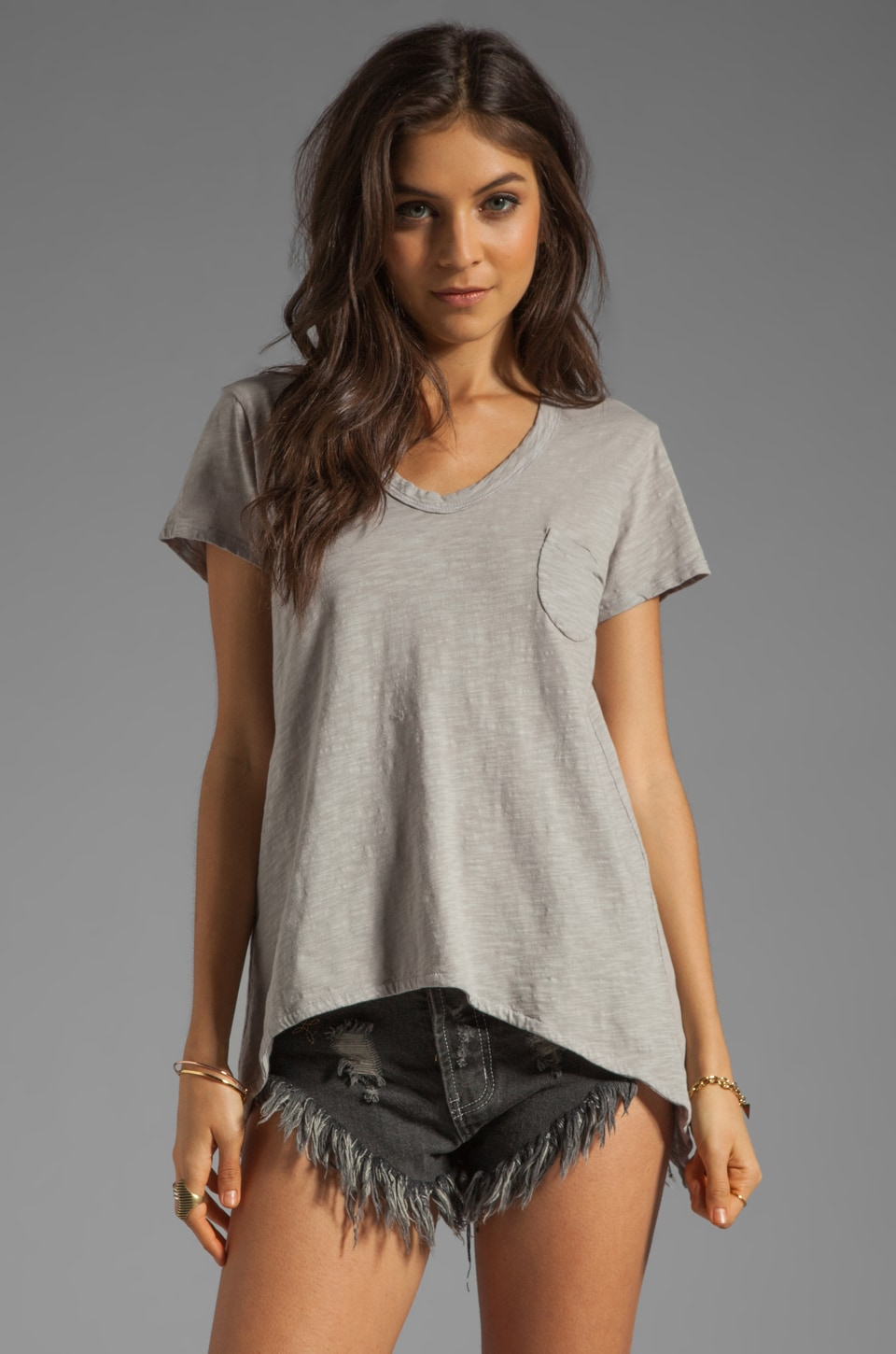 Wilt Slub Shrunken Pocket Tee in Elephant