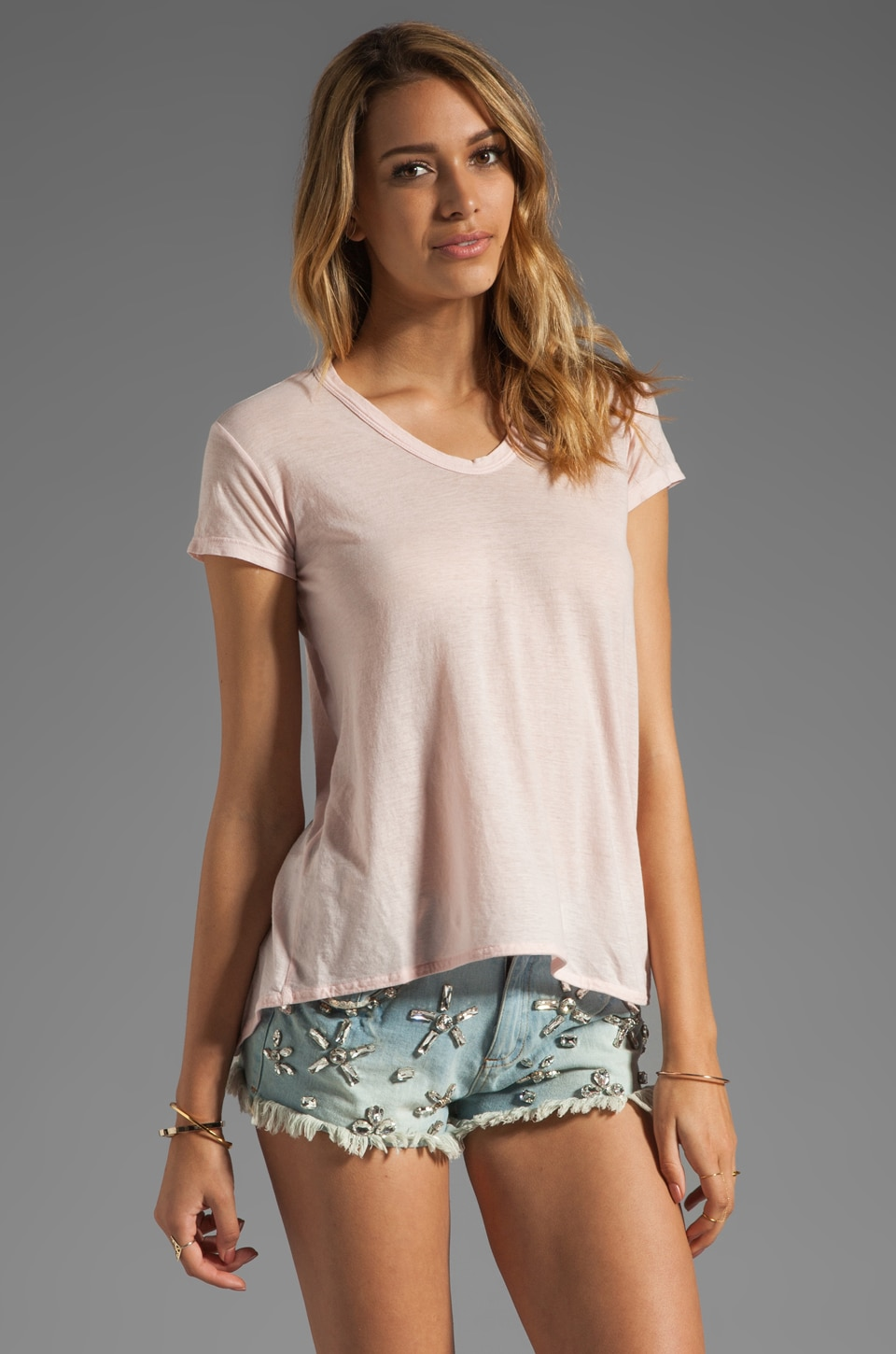 Wilt Tissue Jersey Slouchy BF Tee in Pink