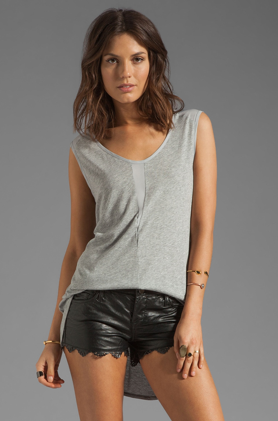 Wilt Cotton Modal Twisted Mix Top in Grey Heather