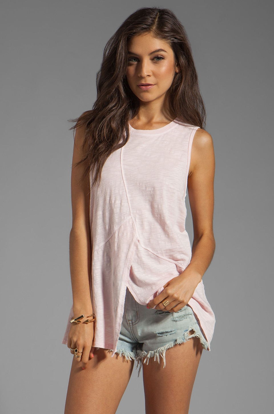 Wilt Slub Paneled Shell Tank in Pink
