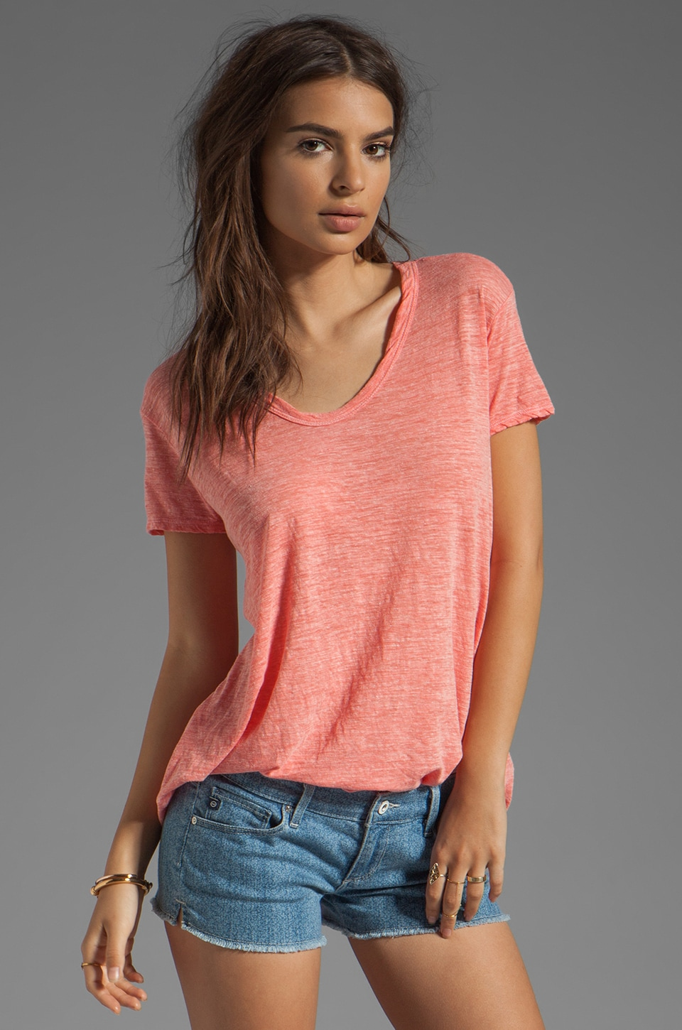 Wilt Heather Jersey Slouchy BF Tee in Shrimp