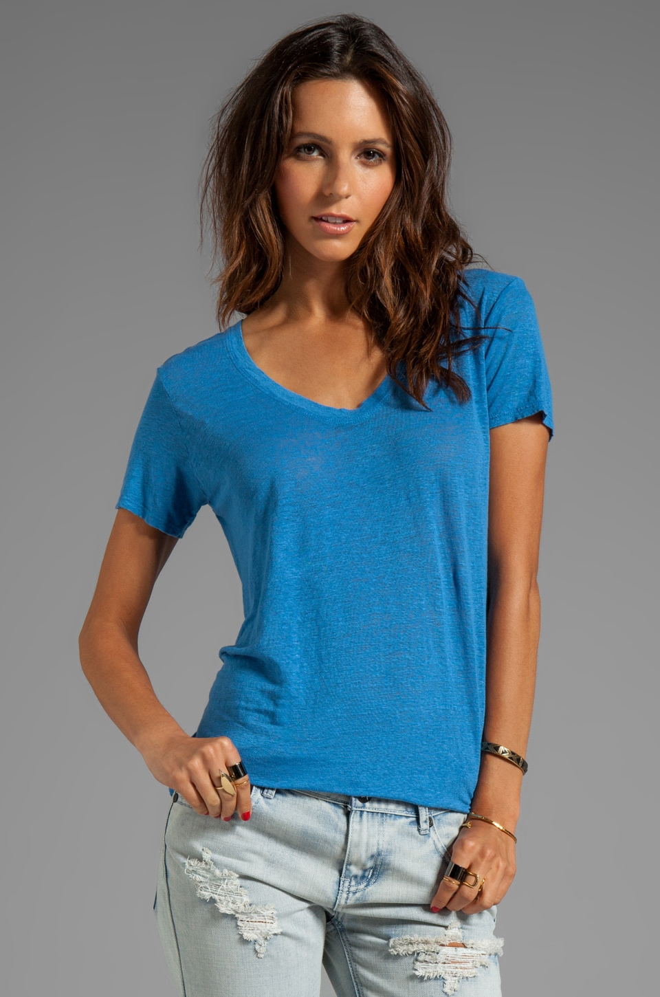 Wilt Easy Raw Tee in Cobalt