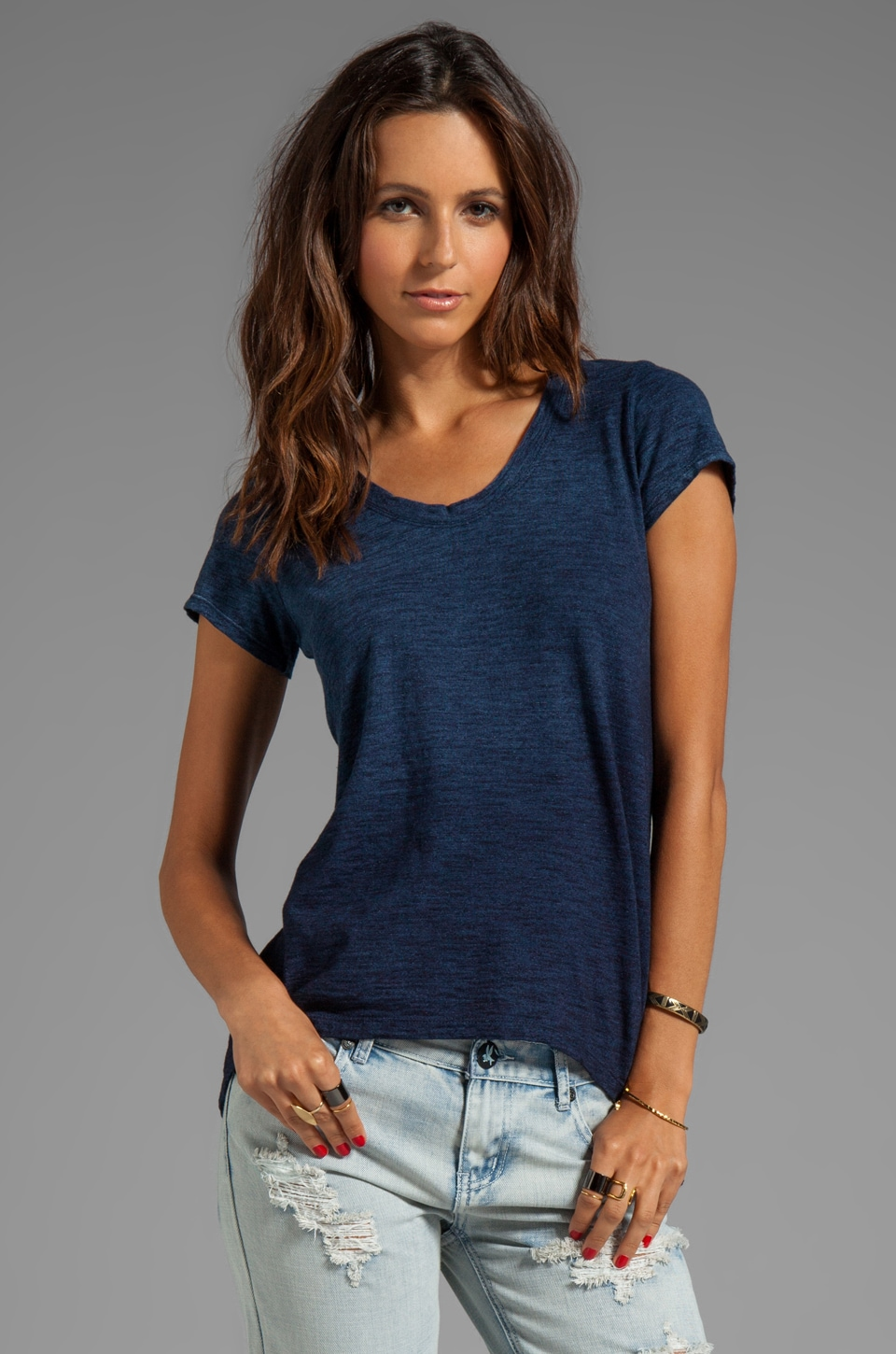Wilt Indigo Slub Easy Tee in Vintage Wash