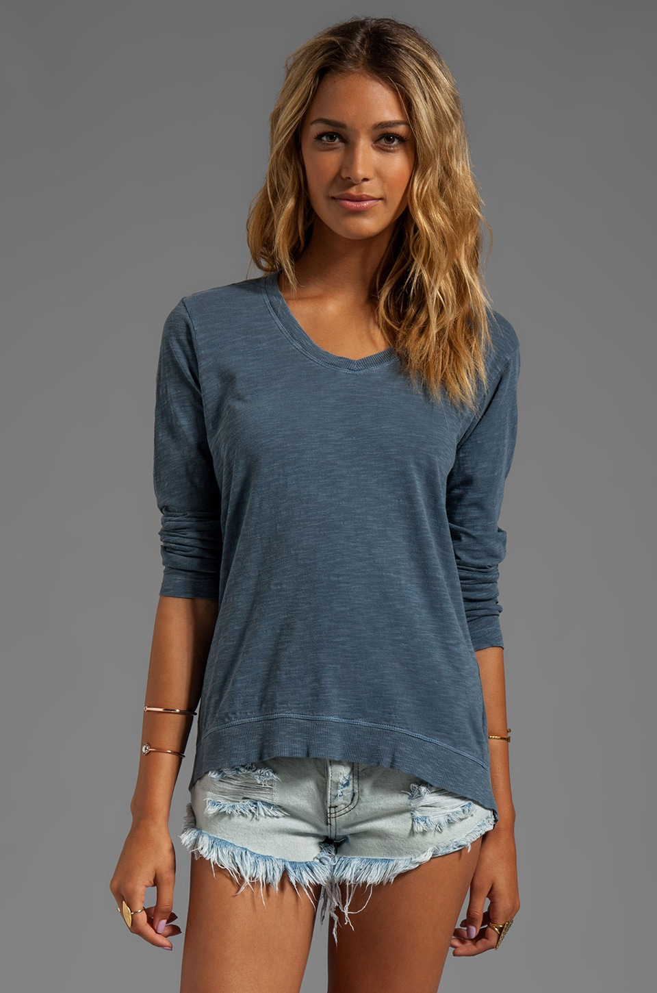 Wilt Slub Jersey Long Sleeve Drape Back Tee in Oxford