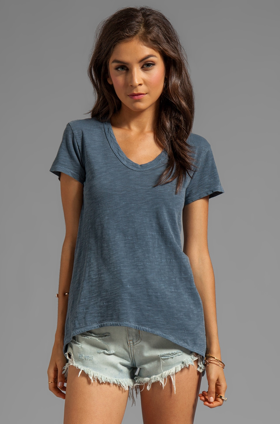 Wilt Slub Jersey Shrunken Boyfriend Tee in Oxford