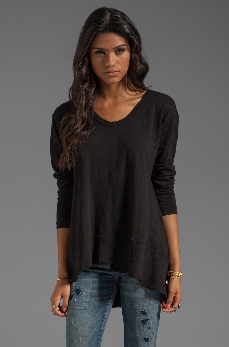 Wilt Slub Jersey Mixed Slouchy Long Sleeve in Black