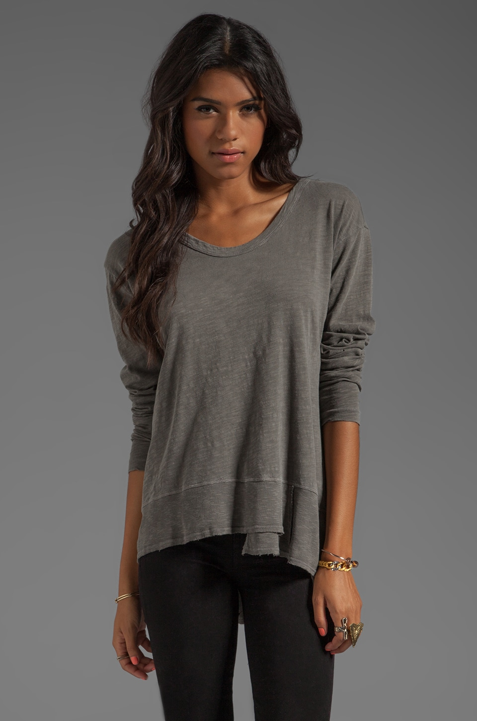 Wilt Slub Jersey Mixed Slouchy Long Sleeve in Granite