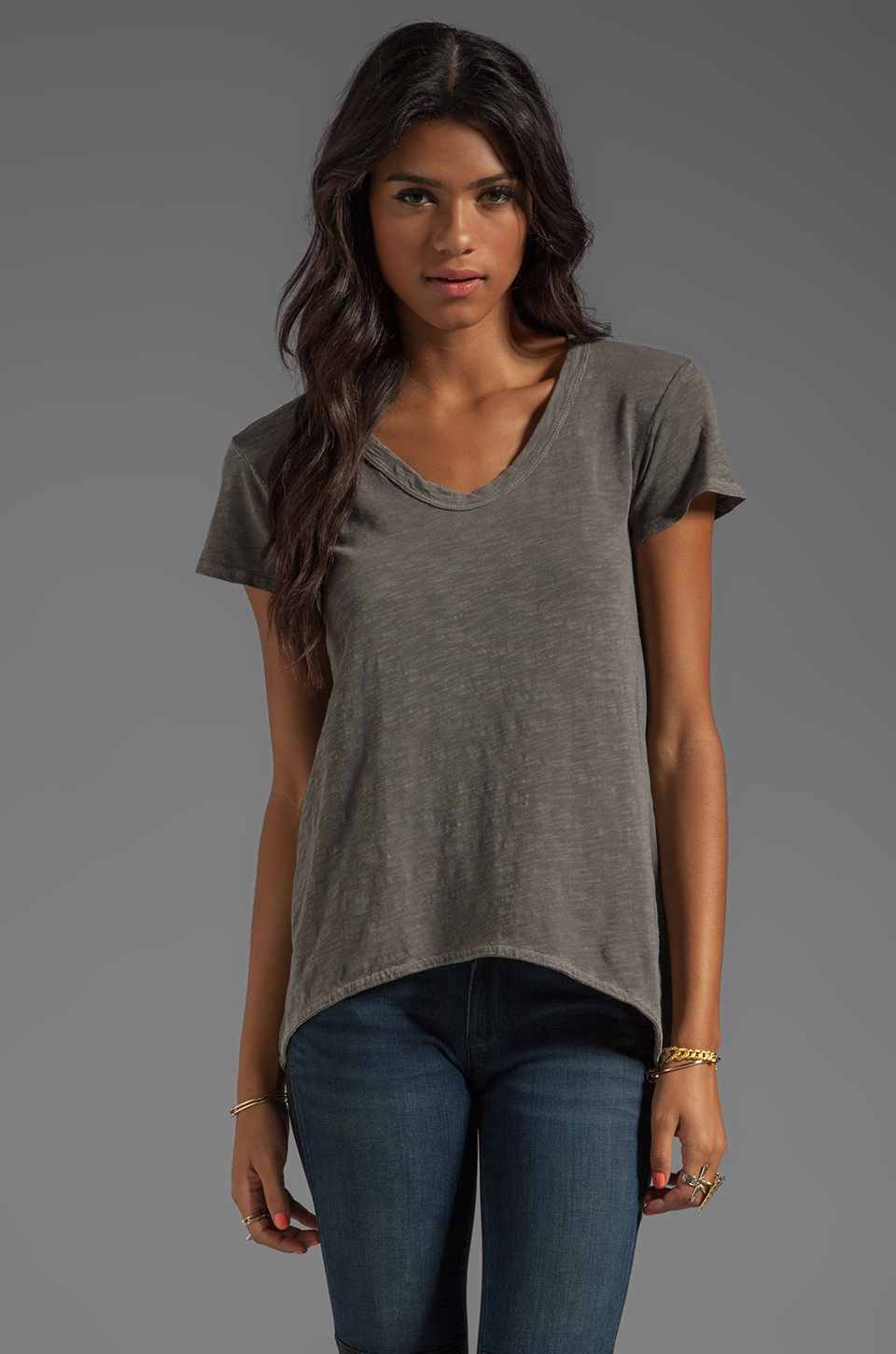 Wilt Slub Jersey Shrunken Boyfriend Tee in Granite