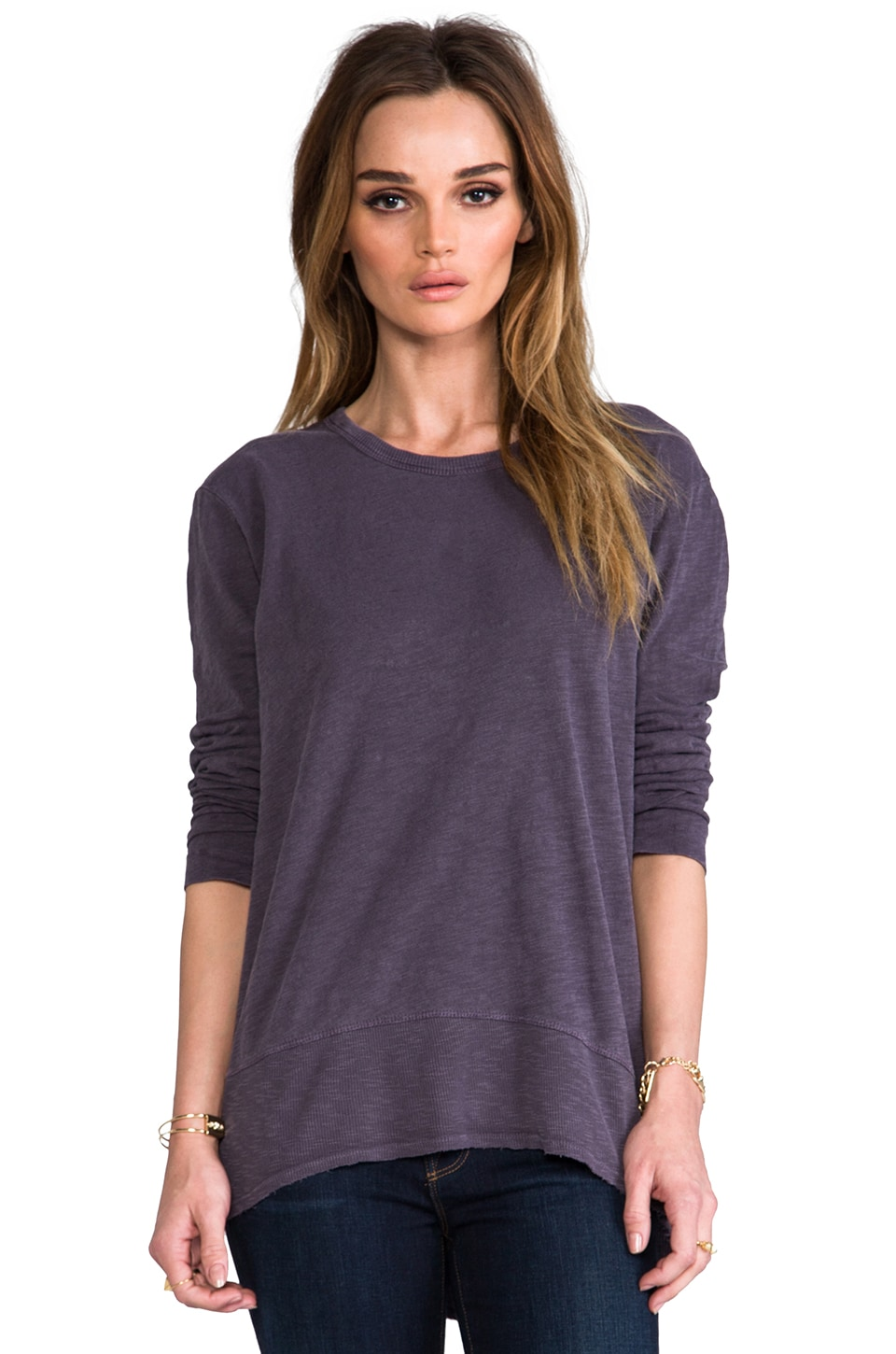 Wilt Slub Long Sleeve Hi Lo Top in Eggplant