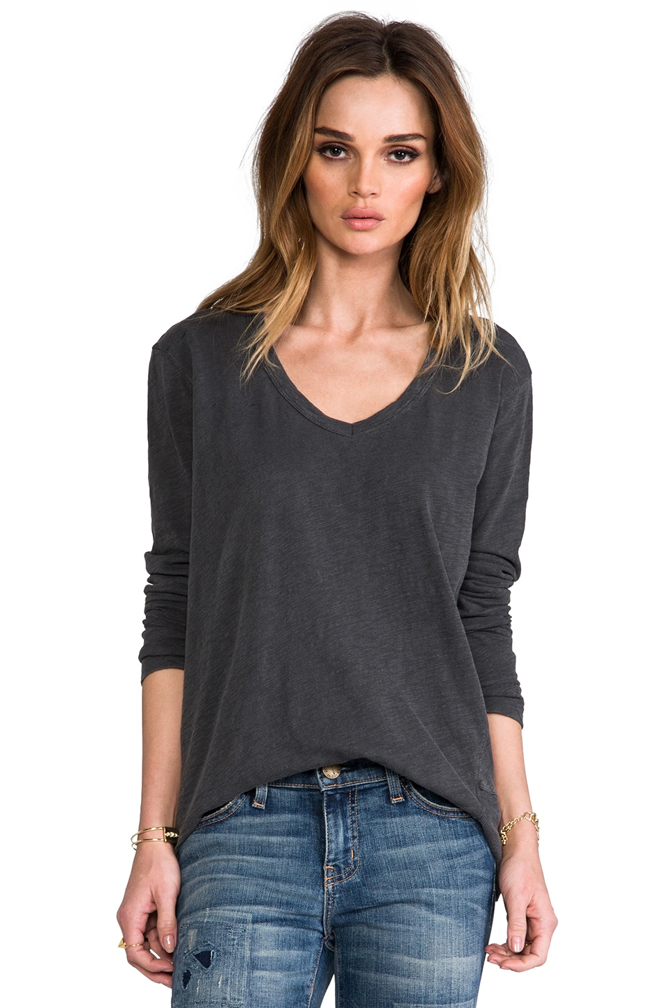 Wilt Slub Long Sleeve Deep V Backslant in Vintage Black