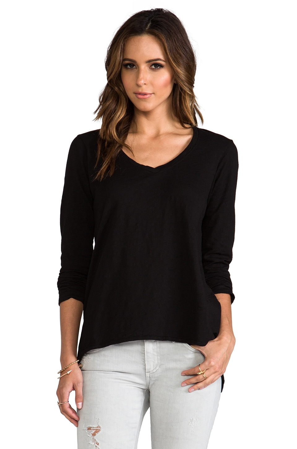 Wilt Slub Long Sleeve Shrunken Deep V in Standard Black