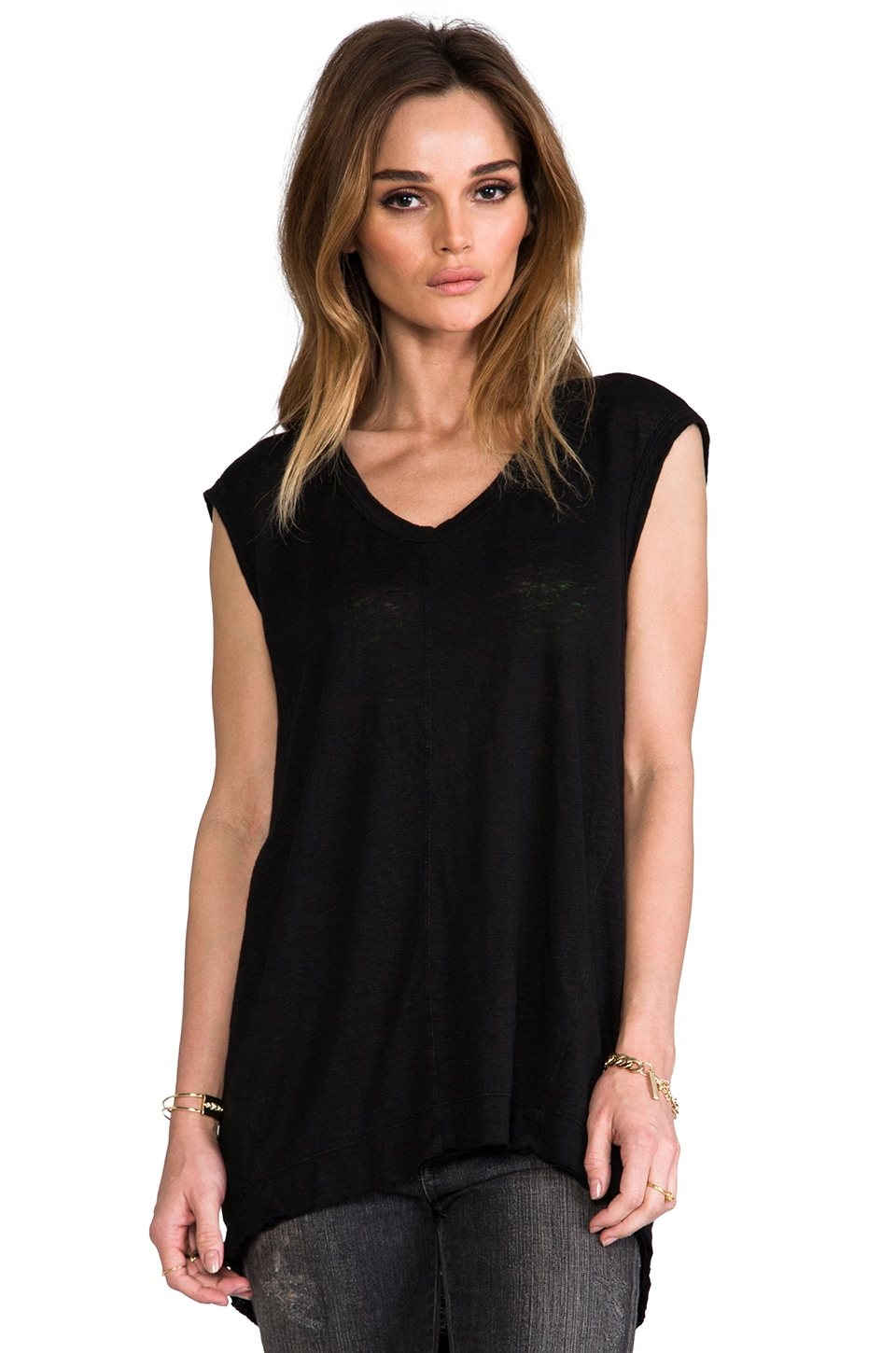Wilt Lux Slub Seamed T in Standard Black