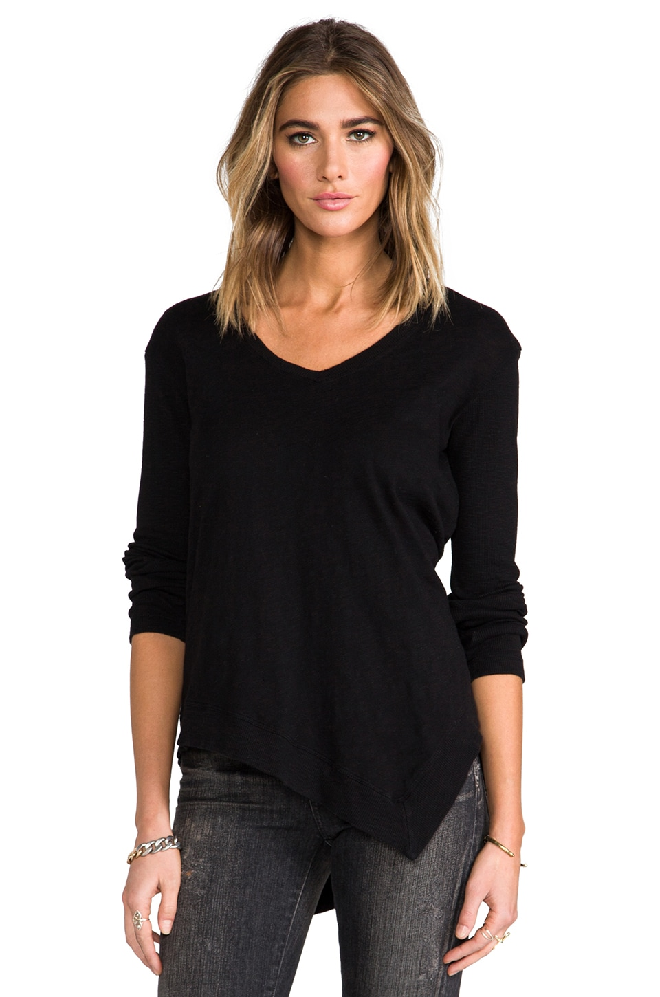 Wilt Long Sleeve Uneven V-Neck in Standard Black