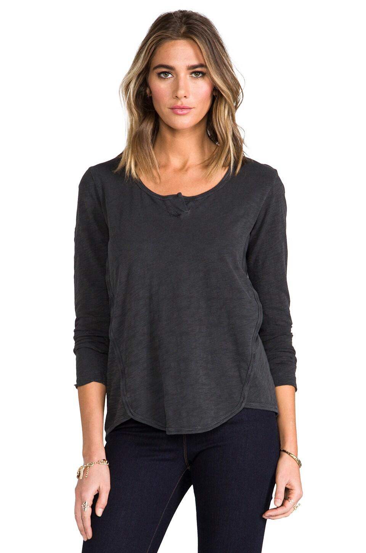 Wilt Long Sleeve Shrunken Henley Shirttail in Vintage Black