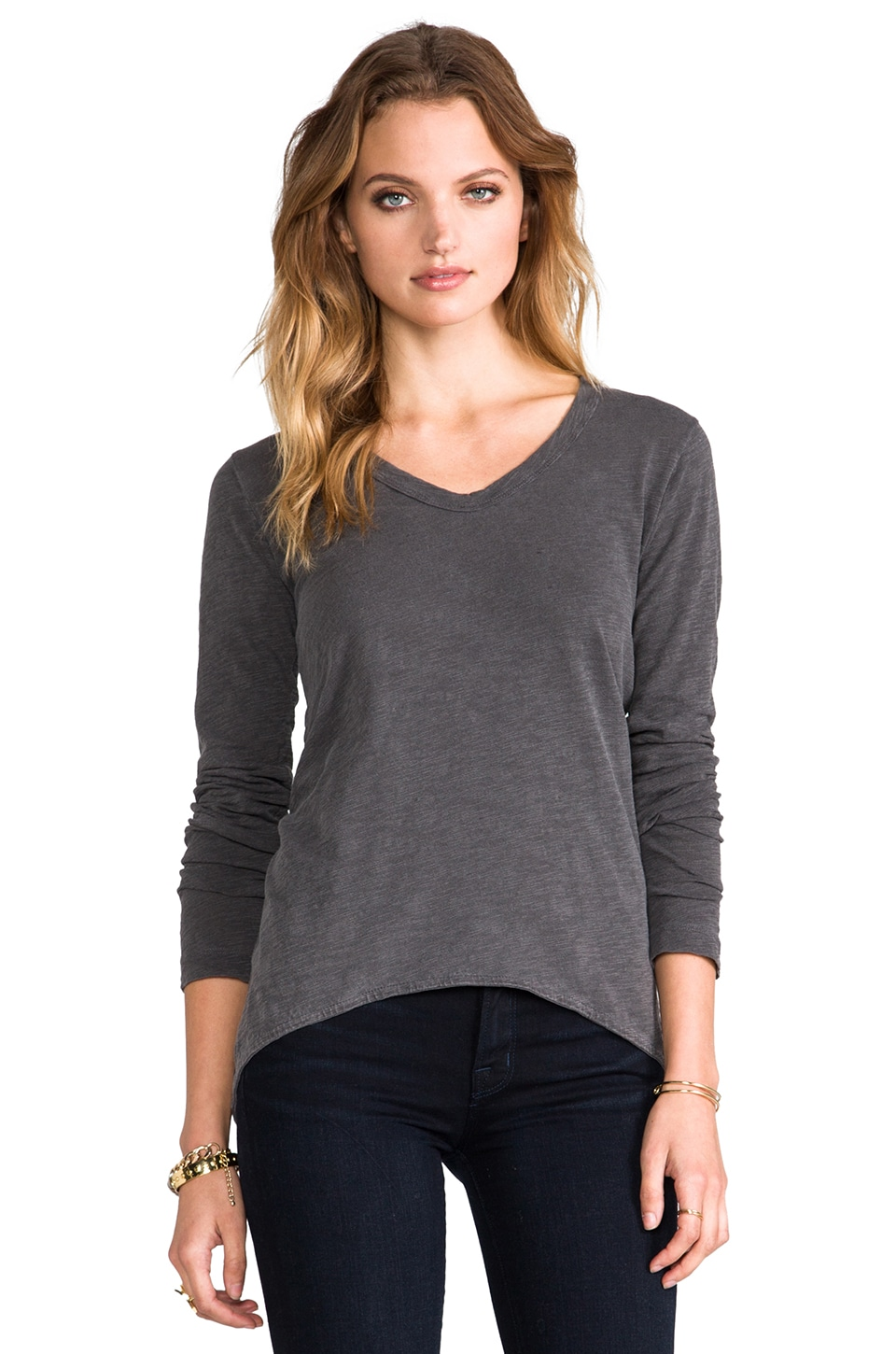 Wilt Slub Long Sleeve Shrunken BF Tee in Ash