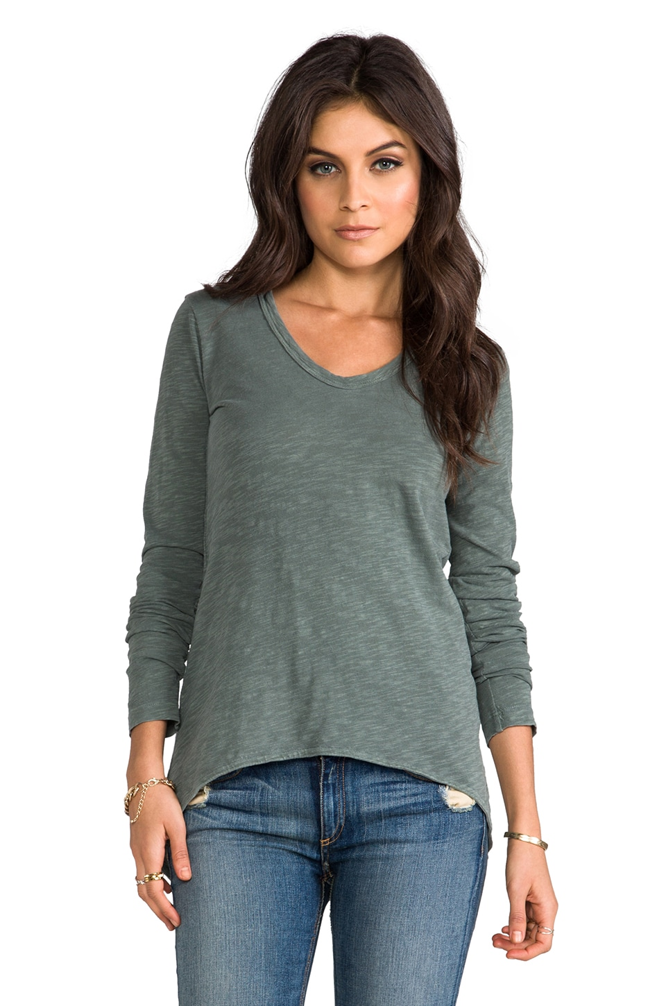 Wilt Slub Long Sleeve Shrunken BF Tee in Clover