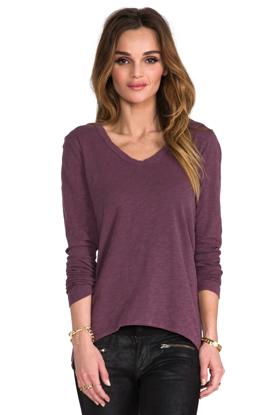 Wilt Slub Long Sleeve Shrunken BF Tee in Wine