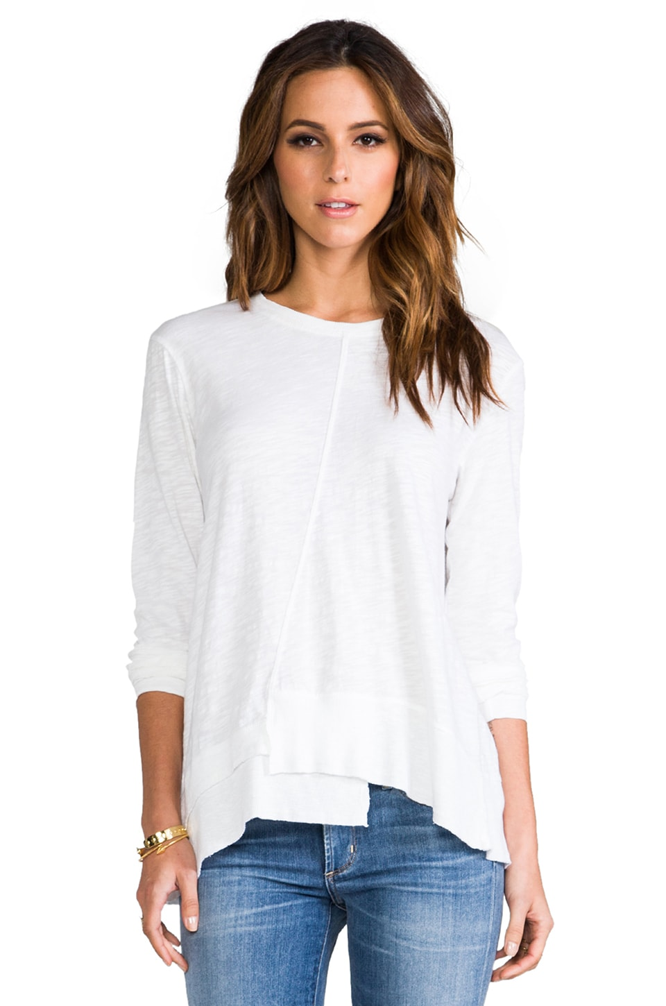 Wilt Long Sleeve Twisted Seam Rib Mix Tee in White