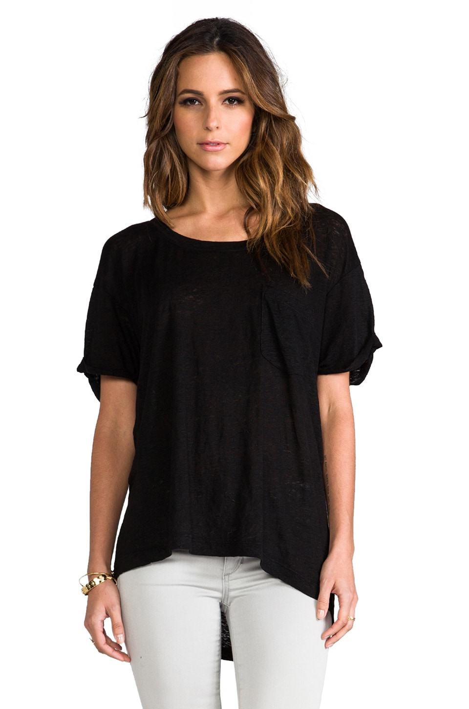 Wilt Short Sleeve Roll Cuff Tee in Standard Black