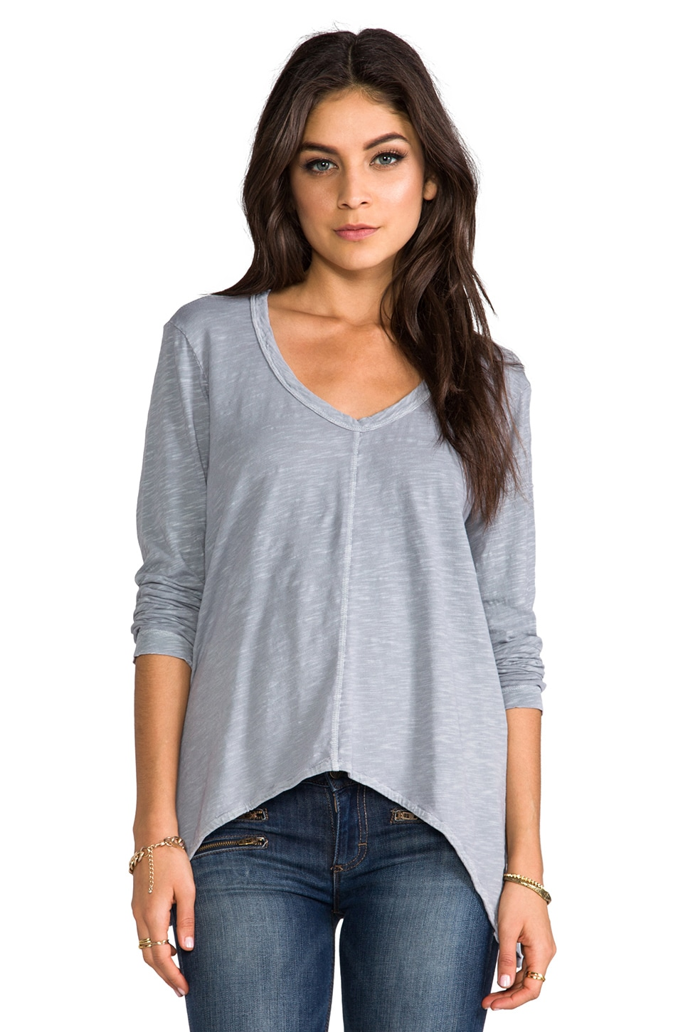 Wilt Slouchy Long Sleeve Gusset Tee in Elephant