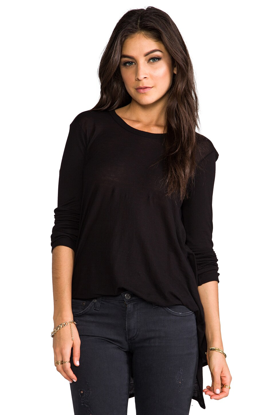 Wilt Long Sleeve Back Drape Tee in Black