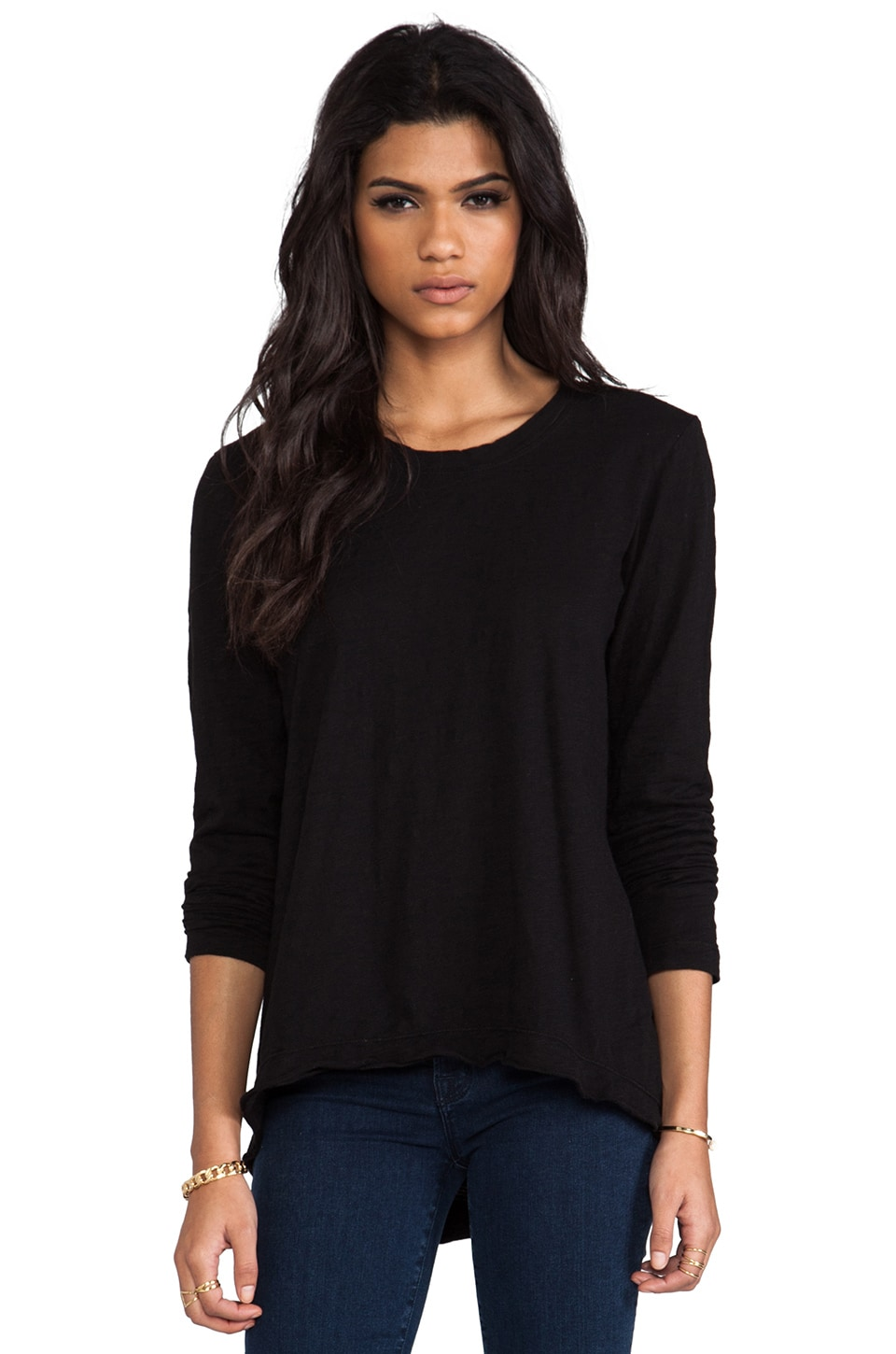 Wilt Long Sleeve Raw Easy Crew in Standard Black