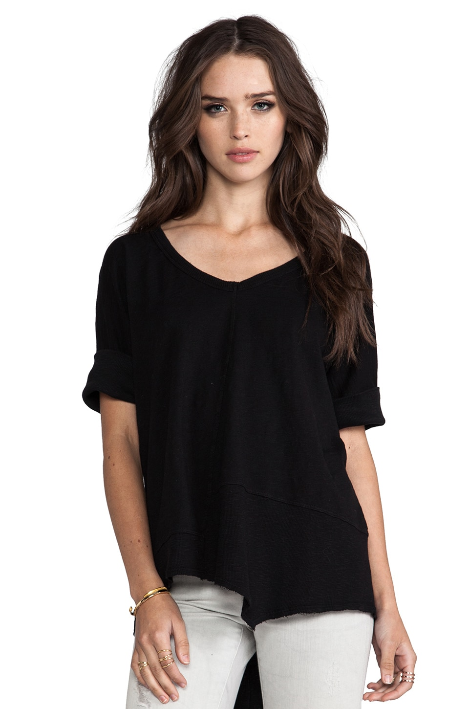 Wilt Short Sleeve Twisted Seam Rib Slant Tee in Standard Black