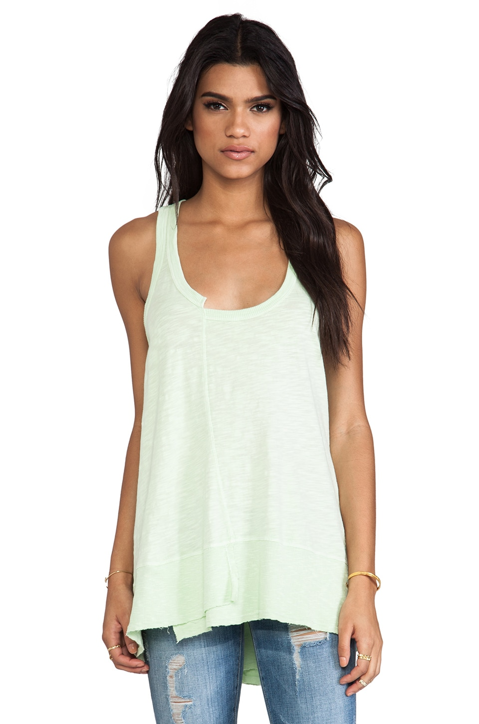 Wilt Twisted Seam Rib Mix Tank in Pistachio