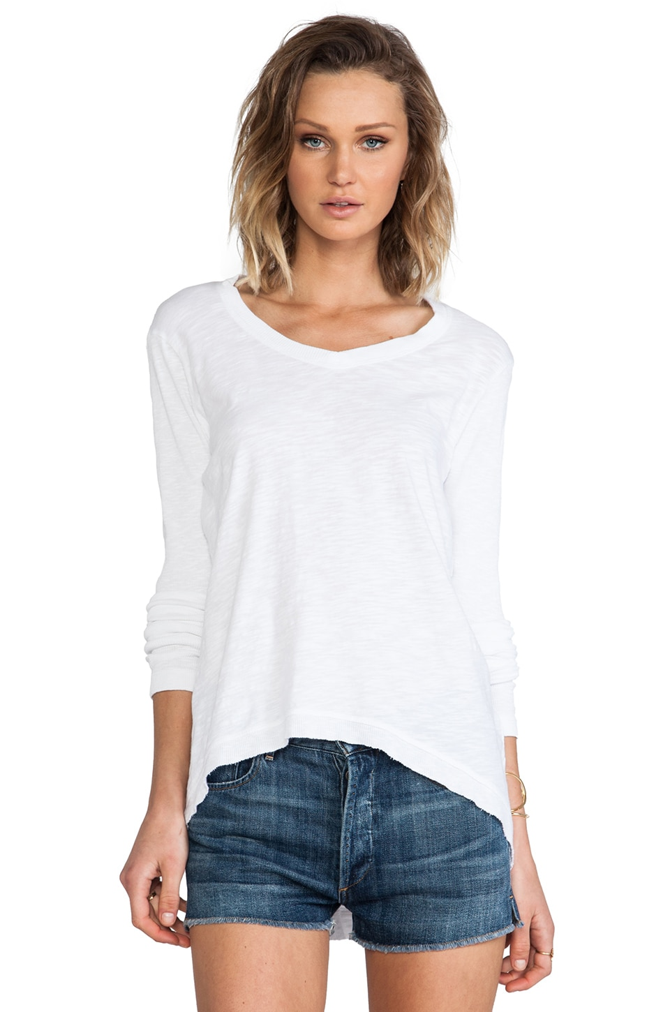 Wilt Long Sleeve Hi/Lo Tunic Tee in White