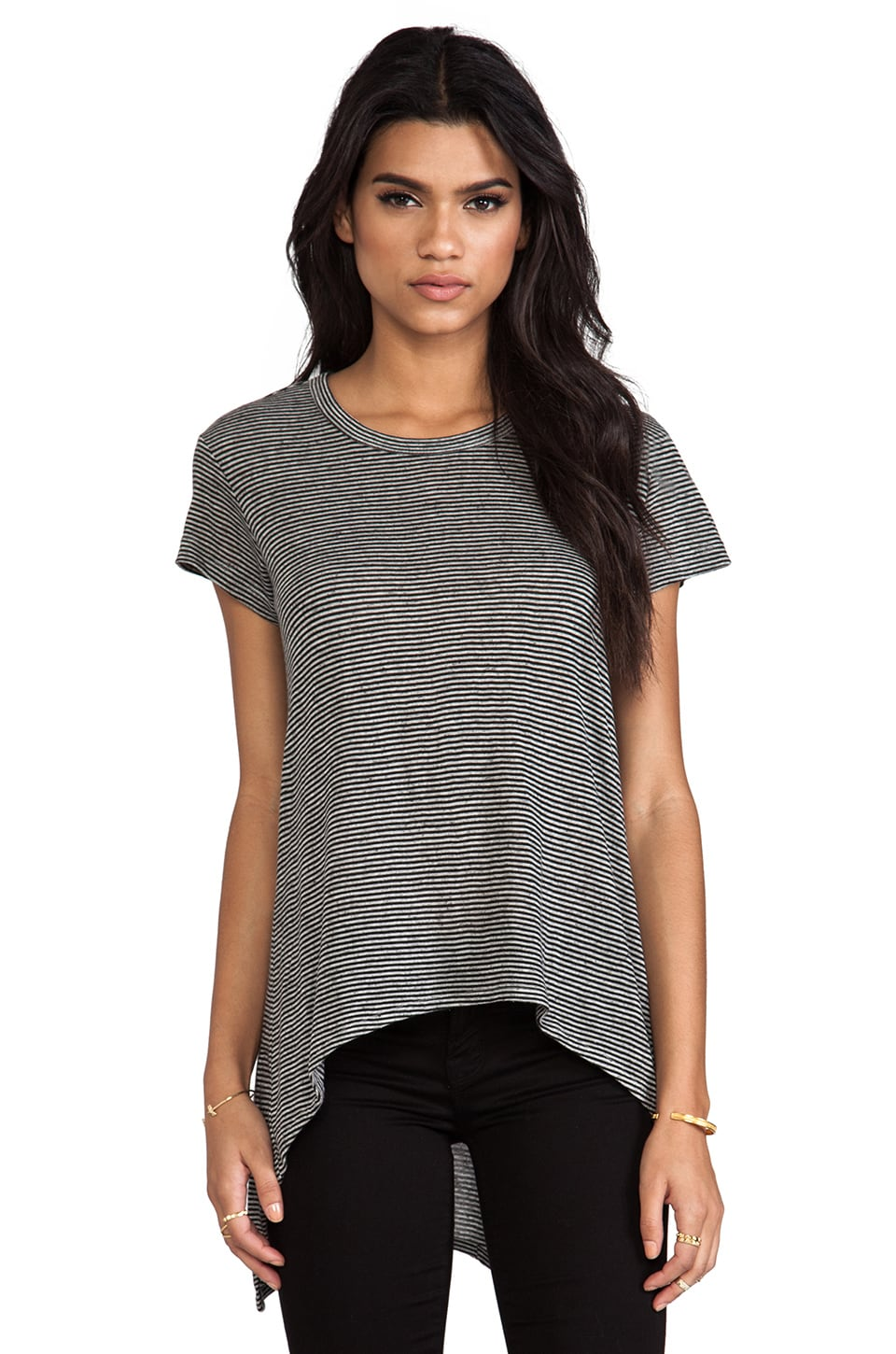 Wilt Shrunken Boyfriend Tee in Grey Heather Black Stripe