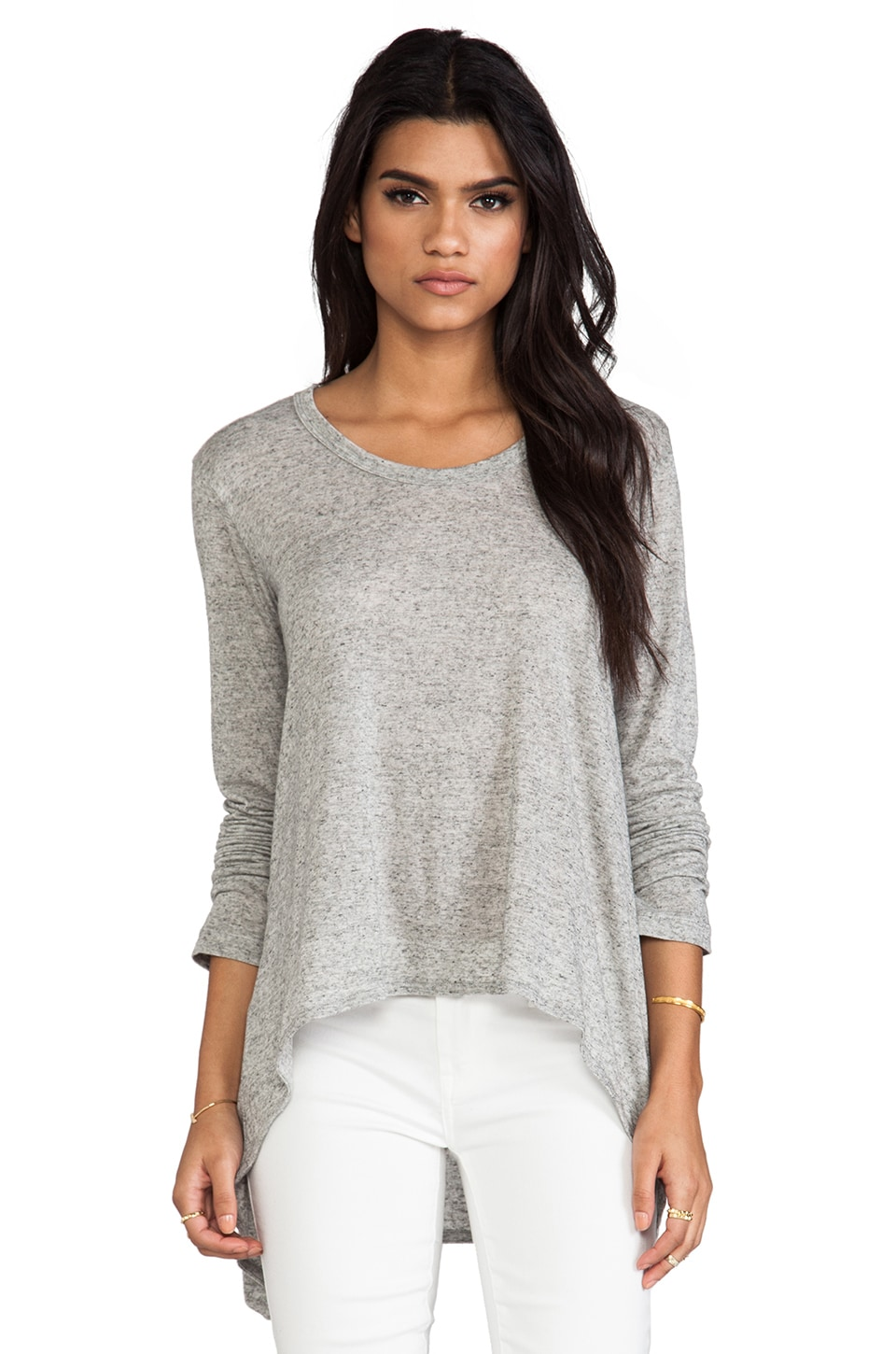 Wilt Shrunken Long Sleeve Boyfriend Tee in Grey Heather