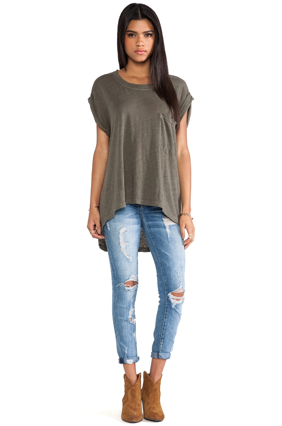 Wilt Short Sleeve Rolled Cuff Tee in Moss