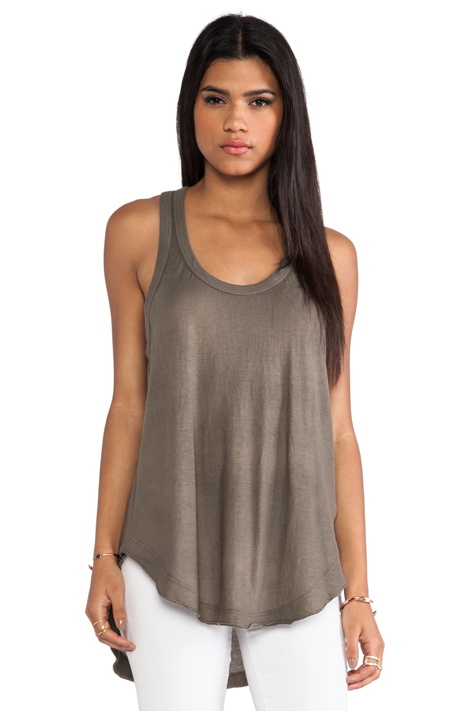 Wilt Raw Shrunken Shirttail Tank in Moss