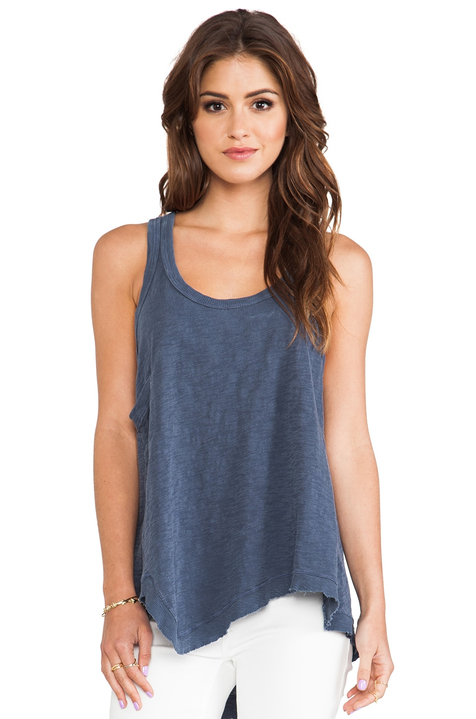 Wilt Slub Twisted Pocket Uneven Tank in Vintage Blueberry