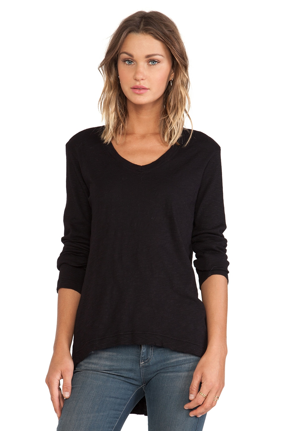 Wilt Slub Jersey Long Sleeve Rib Mix Hi-Lo Tunic in Black