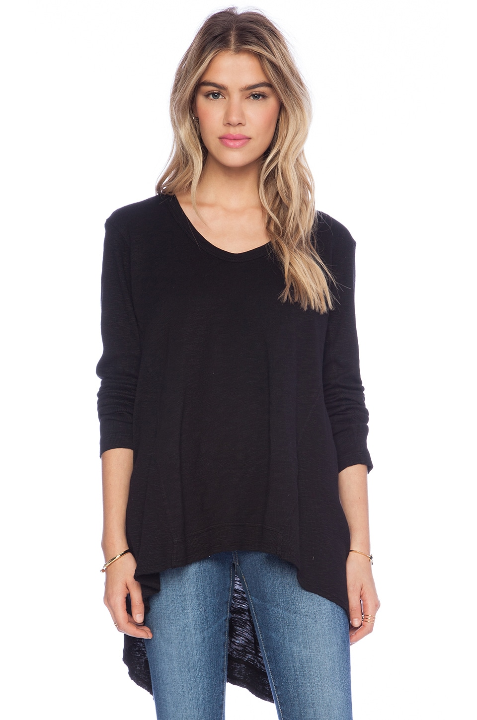 Wilt Slub Mixed Panel Tunic Long Sleeve Tee in Black