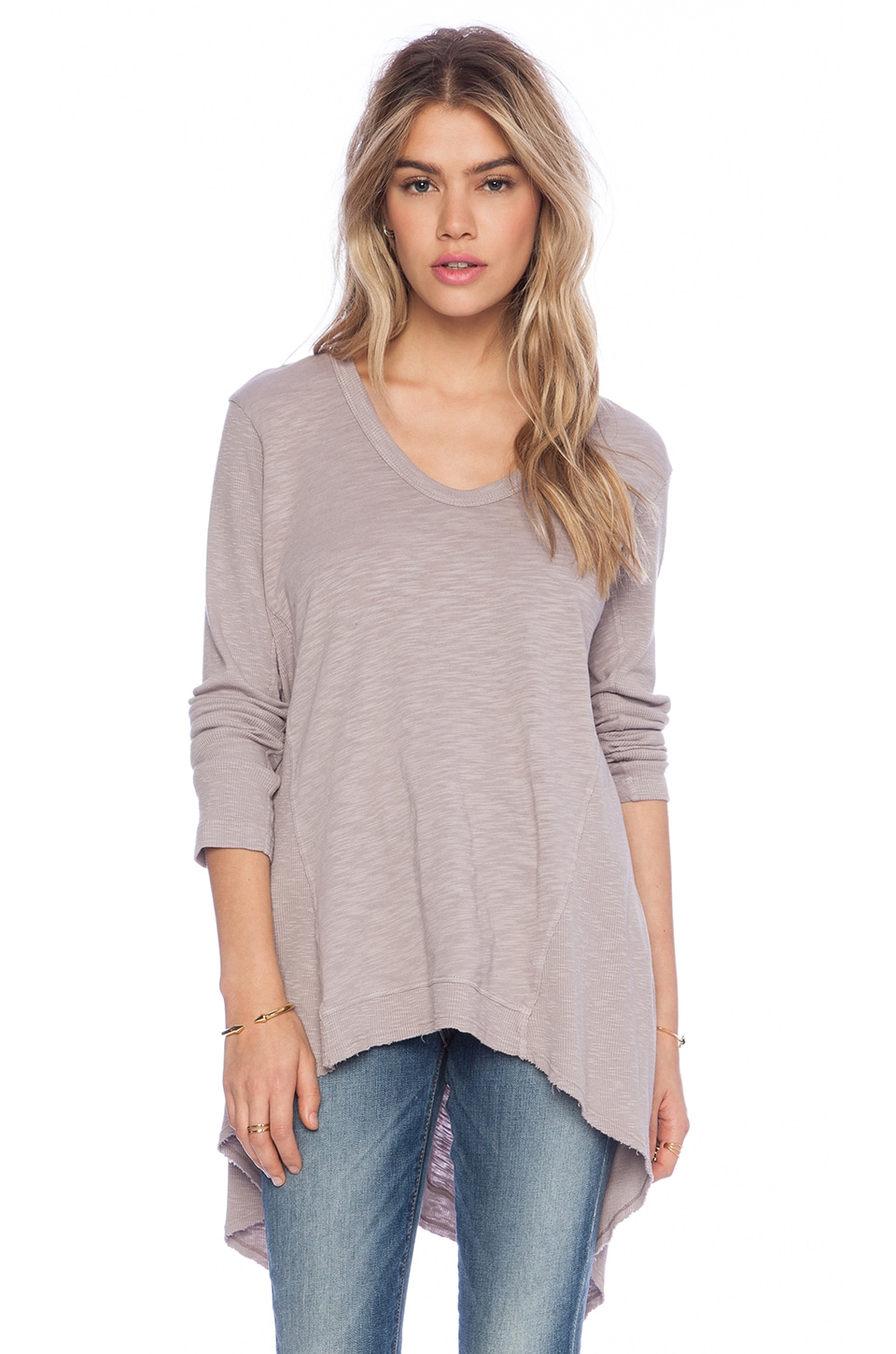 Wilt Slub Mixed Panel Tunic in Quartz