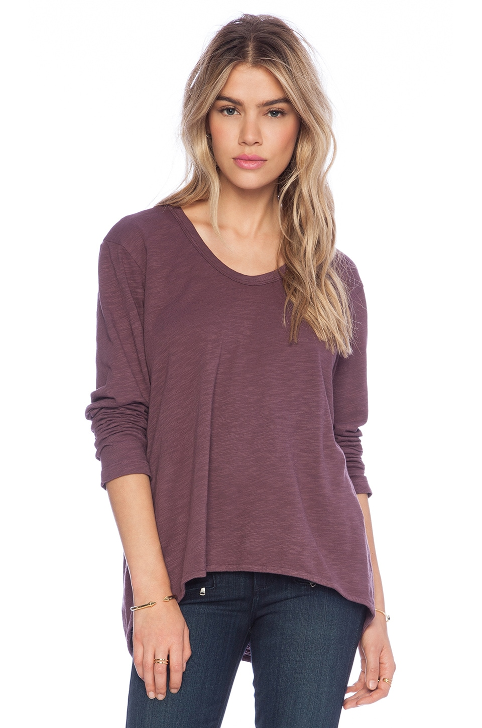 Wilt Slub Basic Long Sleeve Slouchy Boyfriend in Petunia