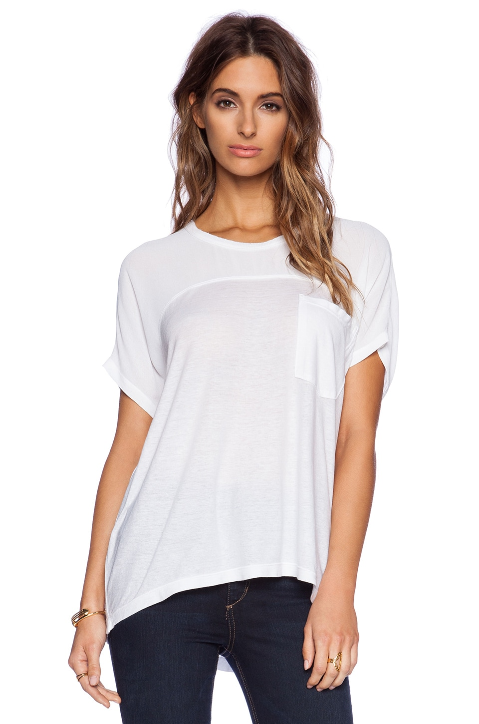 Wilt Slouchy & Sheer Mix Tee in White