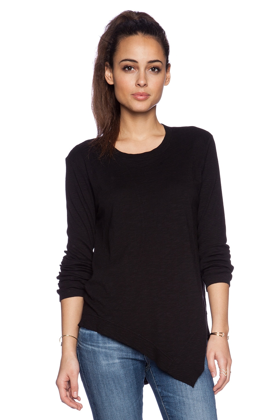 Wilt Twisted Mix Tunic Long Sleeve in Black