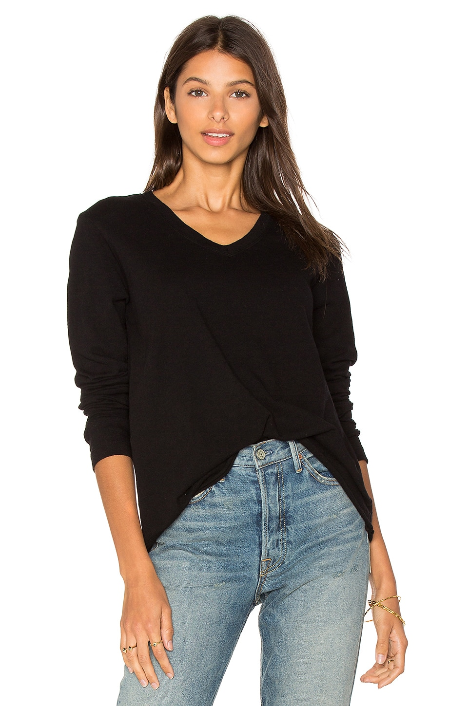 Wilt V Neck Slouchy Long Sleeve in Black Basic