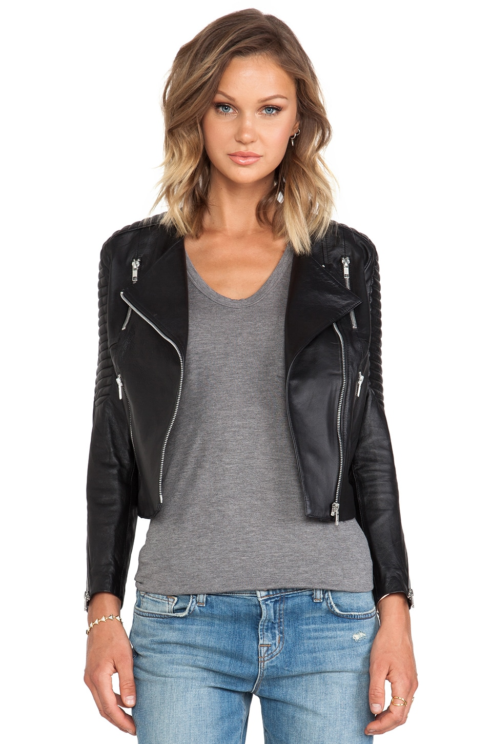 WINSTON WOLFE Slim Biker Jacket in Black