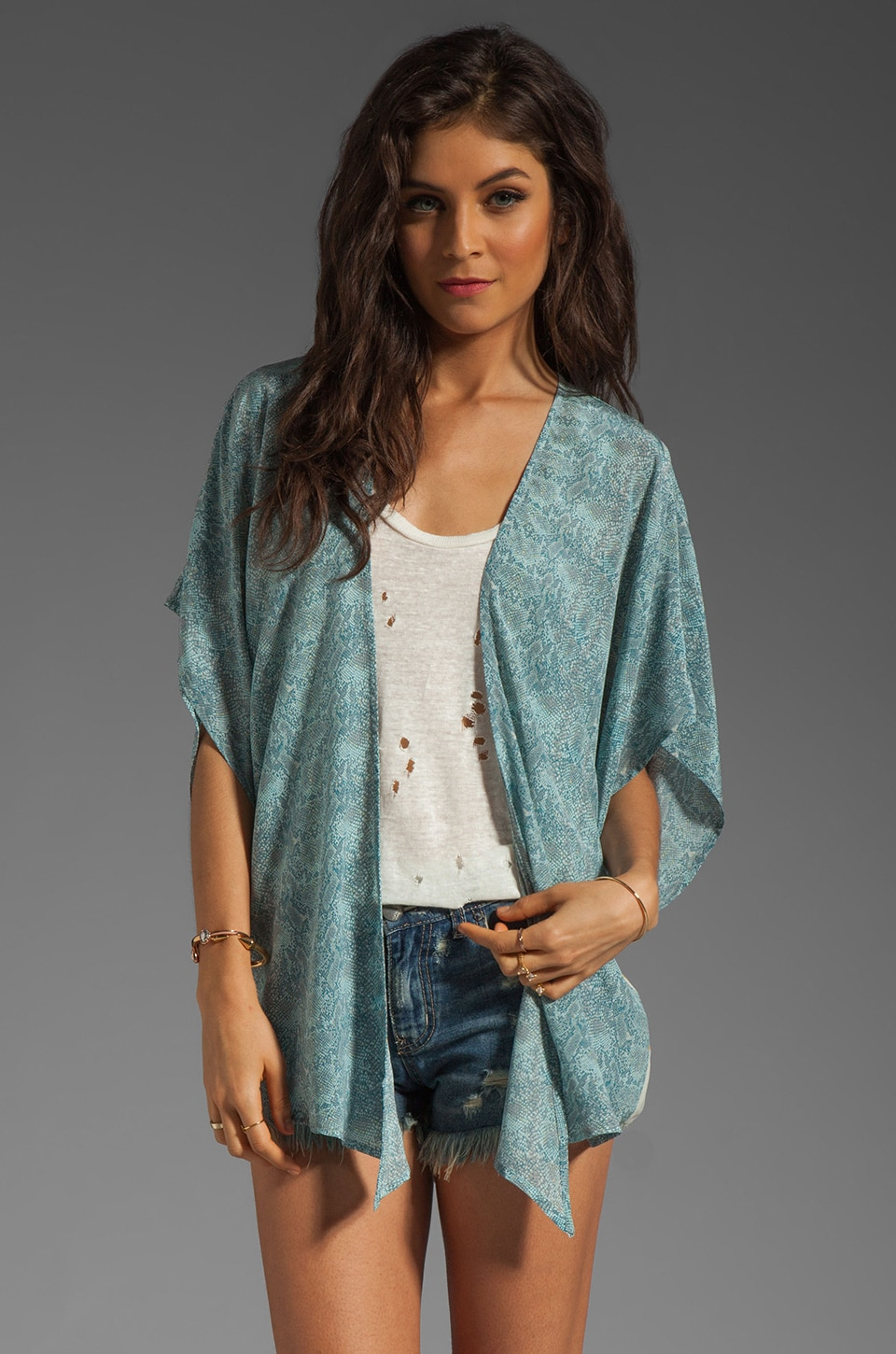 Winter Kate Luna Bed Jacket in Python Mint