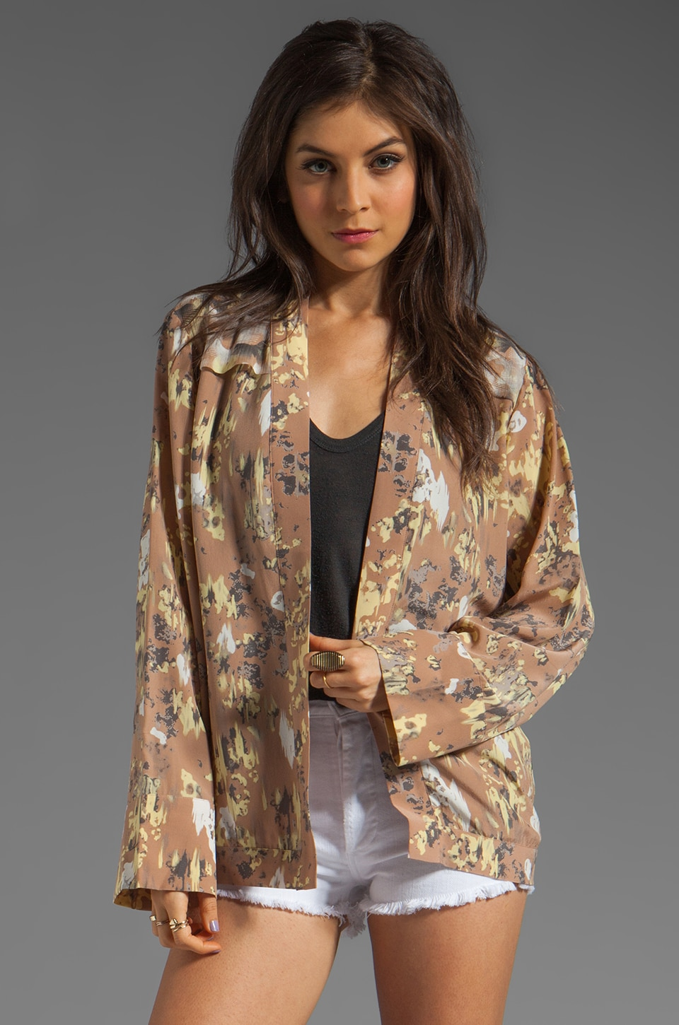 Winter Kate Gretel Bed Jacket in Identity Latte/Butterflies Latte