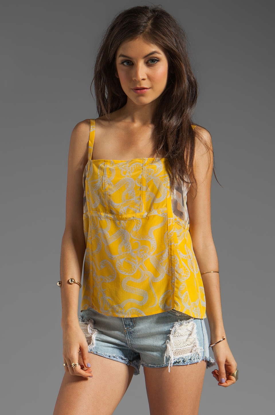 Winter Kate Genesis Tank in Skull Yellow/Butterflies Latte