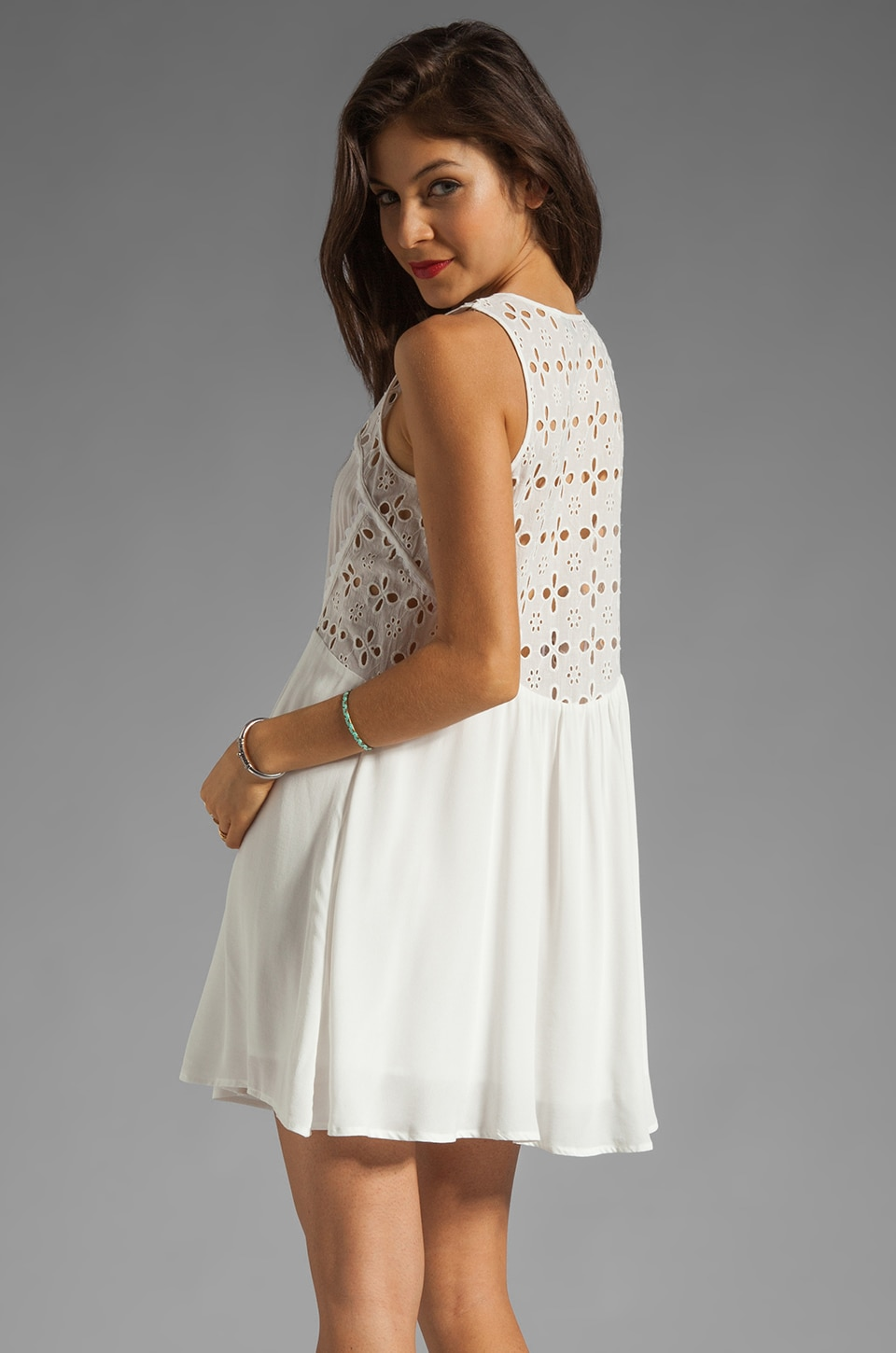Wish Serene Dress in White Embroidery