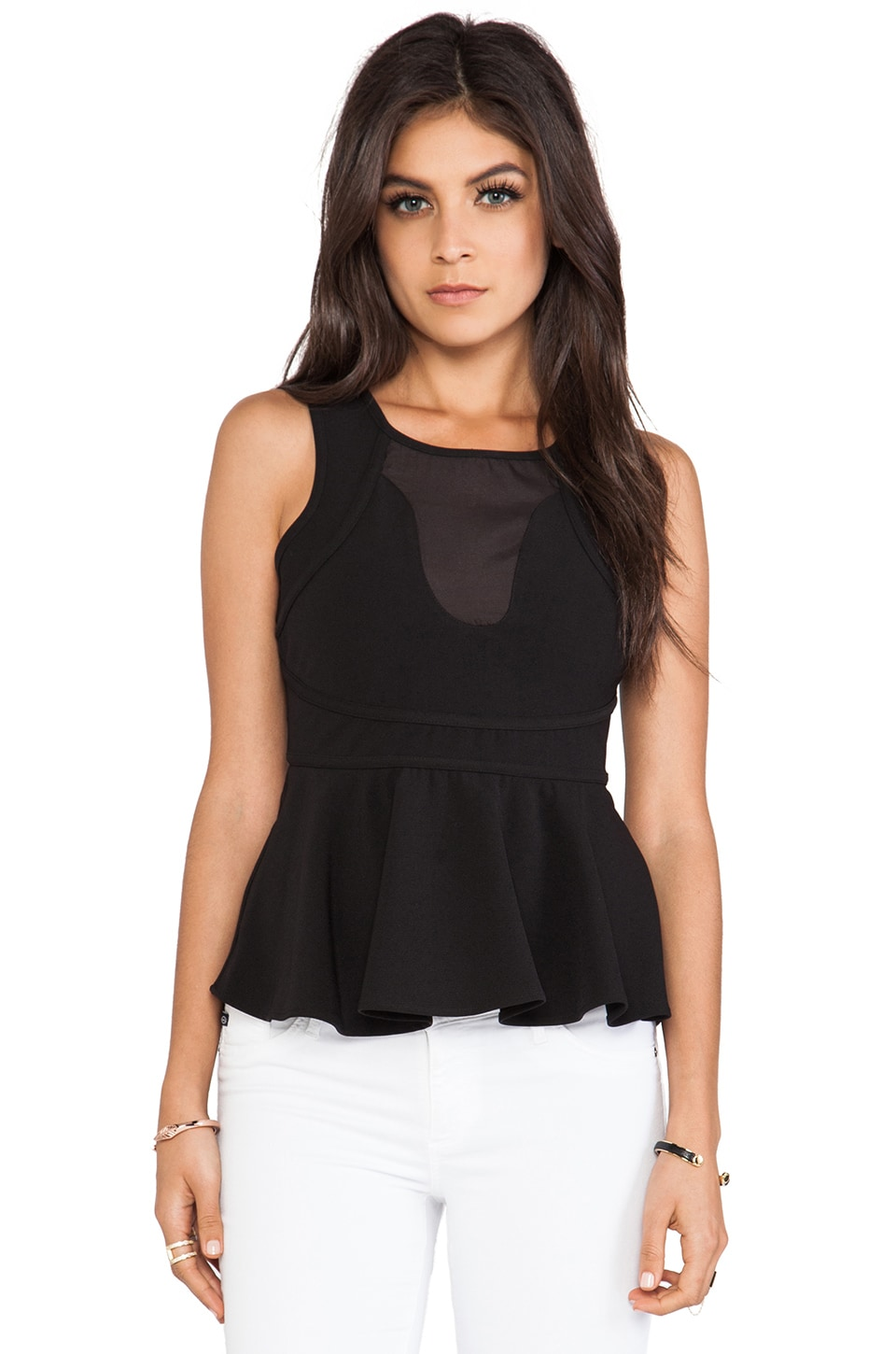 Wish Magnatize Peplum Top in Black